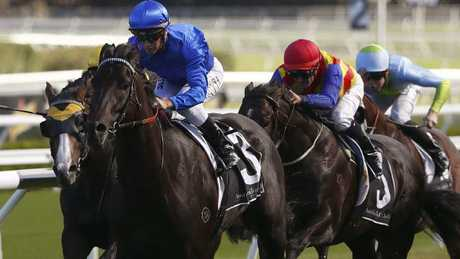 Kementari unleashed a powerful finishing burst to runaway with the Randwick Guineas. Picture: AAP