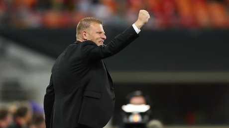Wanderers coach Josep Gombau celebrates