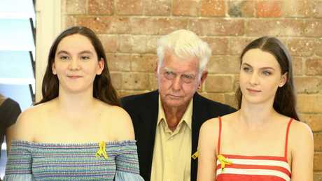 Sarah Baden-Clay, 14, Geoff Dickie, and Hannah Baden-Clay, 16. Picture: Liam Kidston