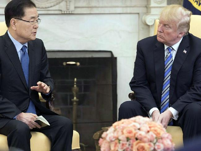 South Korea's national security adviser Chung Eui-yong visited the White House to convey Mr Kim's invitation to the President. Picture: AAP Image/Yonhap News Agency