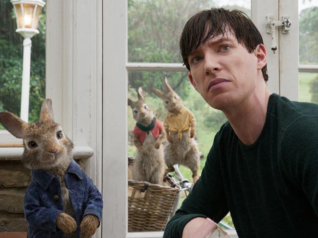 Peter Rabbit (James Corden) with his nemesis Mr. McGregor (Domhnall Gleeson) in Peter Rabbit.