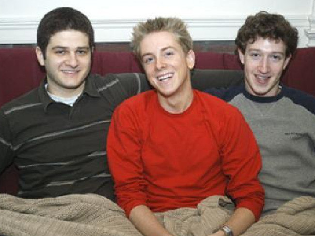 Facebook co-founders Dustin Moskovitz, Chris Hughes and the head honcho, Mark Zuckerberg.
