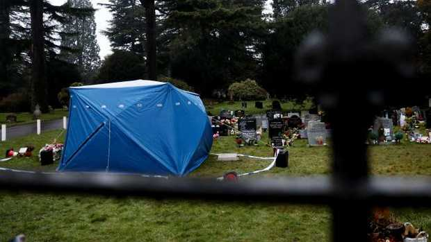 A forensics tent over the grave of former Russian double agent Sergei Skripal's son Alexander. Picture: Jack Taylor/Getty Images