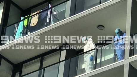 An apartment complex at Carrara where a woman fell to her death. Picture: 9 News Gold Coast
