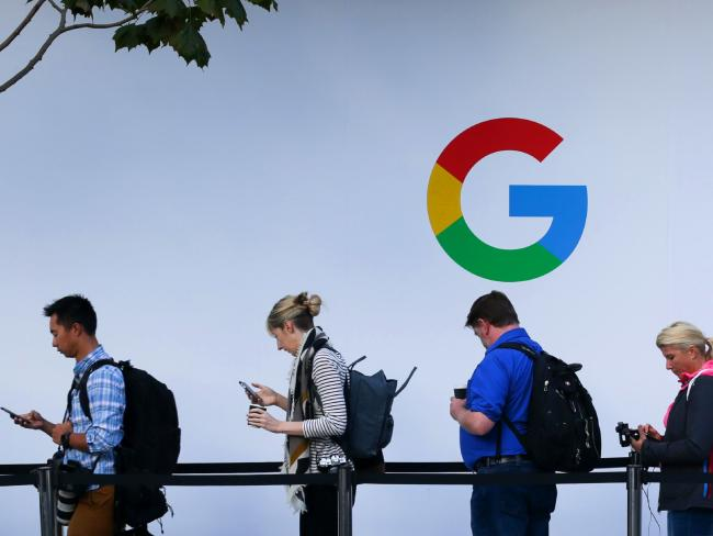 People wait in line to enter a Google product launch event in San Francisco, California. Picture: Elijah Nouvelage