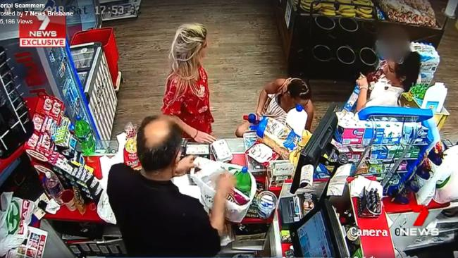 Alleged shoplifting at Chevron Island Spar, Gold Coast. Source: Seven News.