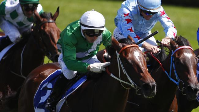 Estijaab had to dig deep to win the Reisling Stakes. Picture: AAP