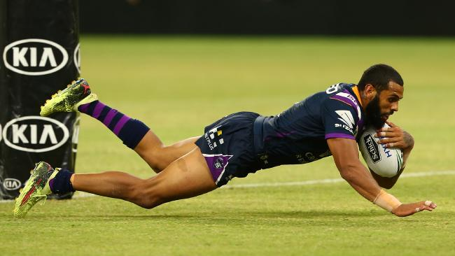 PERTH, AUSTRALIA — MARCH 10: Josh Addo-Carr of the Storm dives for a try during the round one NRL match between the Canterbury Bulldogs and the Melbourne Storm at Optus Stadium on March 10, 2018 in Perth, Australia. (Photo by Paul Kane/Getty Images)