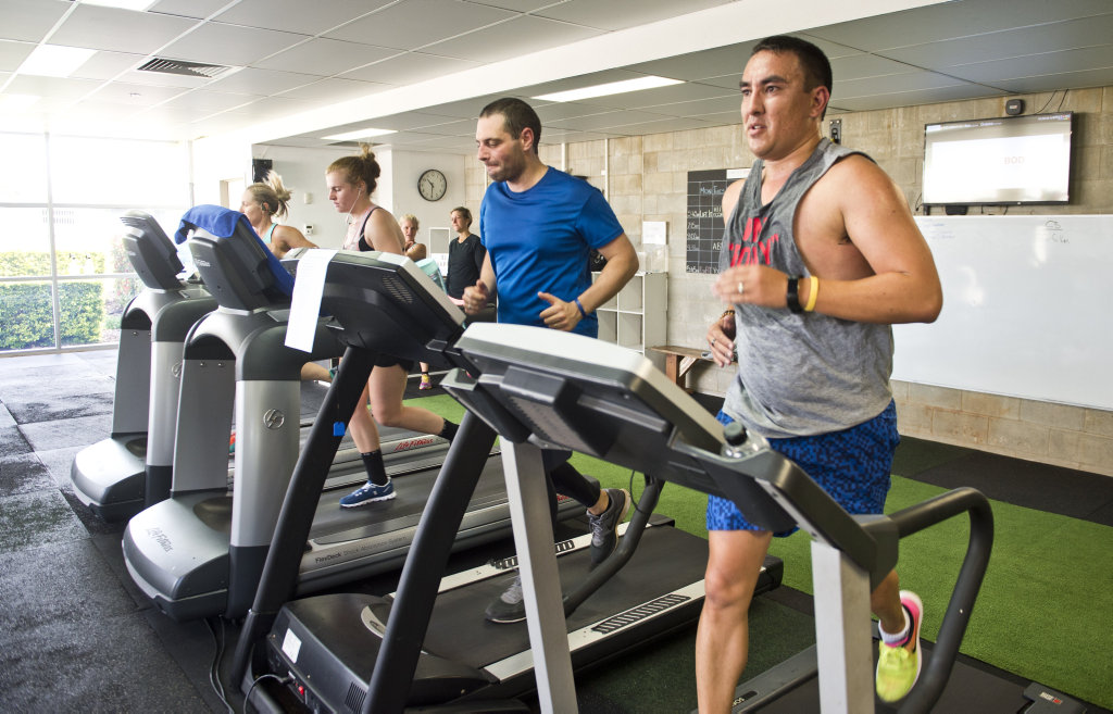 Shane Ciurleo and James O'Shea take part in the Hop on for Hope is a 24-hour treadmill challenge for Hope Horizons. Saturday, 10th Mar, 2018.