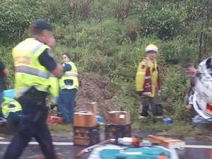 Woman, boy seriously injured in highway rollover