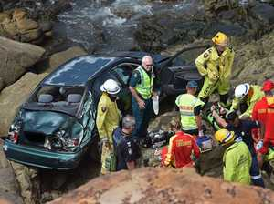 Car plunges off cliff at Coast beach