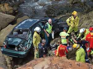 Car plunges off cliff at Coast beach