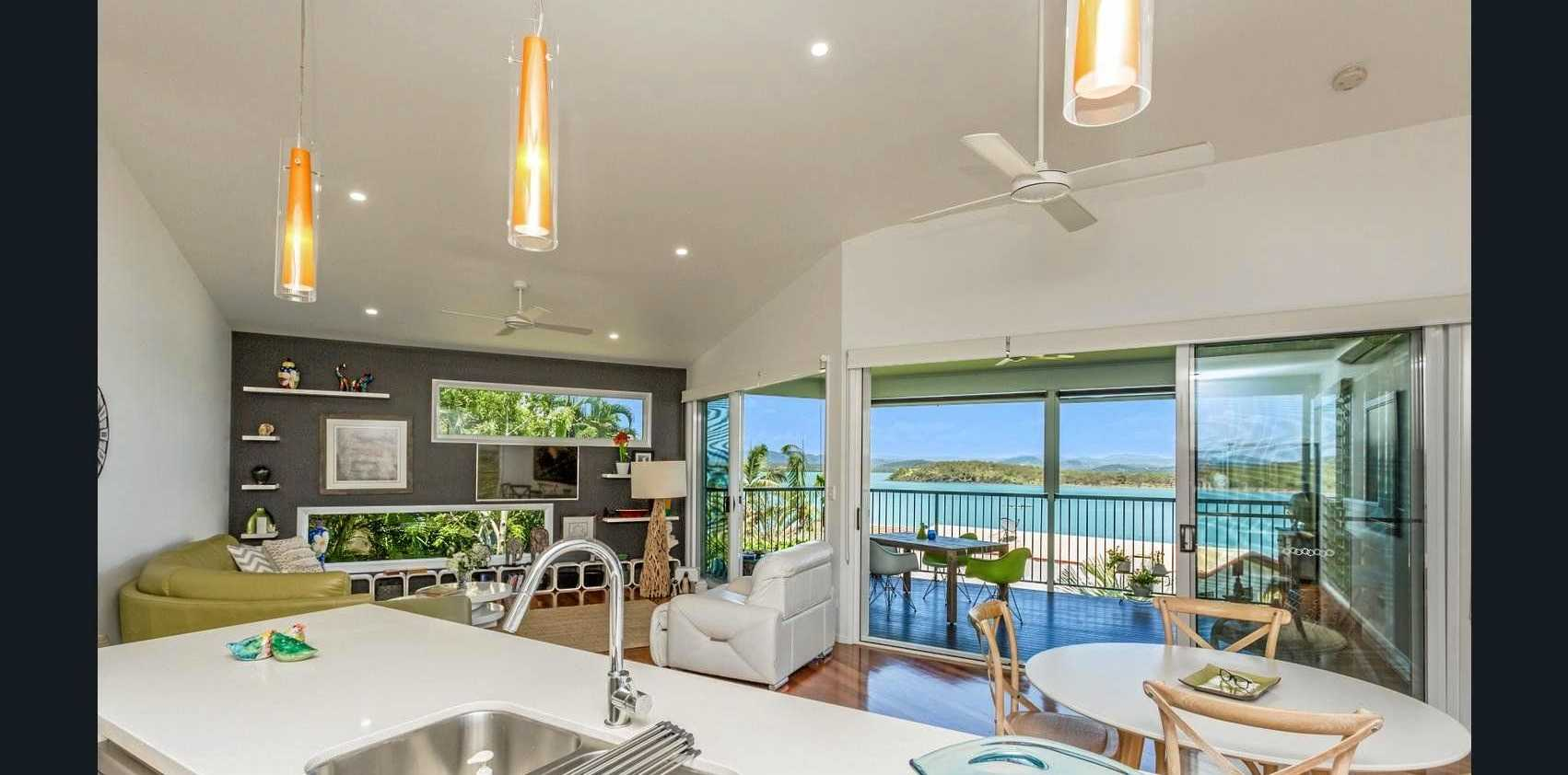 The view from the architect-designed home on Captain Blackwood Drive, Sarina Beach. Owner Maureen Bullock is returning to Victoria.