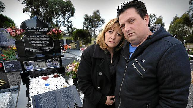 Dina and Ali Halkic at the grave of their son Allem, who took his own life after being bullied and harassed online in 2009.
