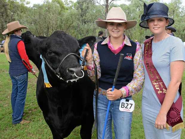 NO BULL: Chloe Plowman with Showgirl Steph Weaver and the Junior Champion Bull Ruby Ridge Marvellous.