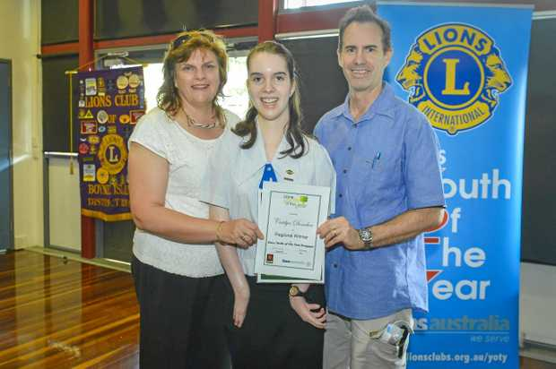 FAMILY PRIDE: Caitlyn Donohoe, with parents Cammi and Patrick Donohoe, is the regional winner of the Lions Youth of the Year Program .
