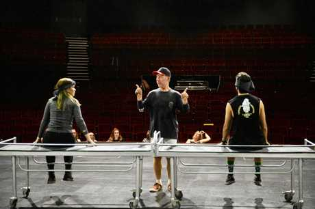 We Will Rock You rehearsals.