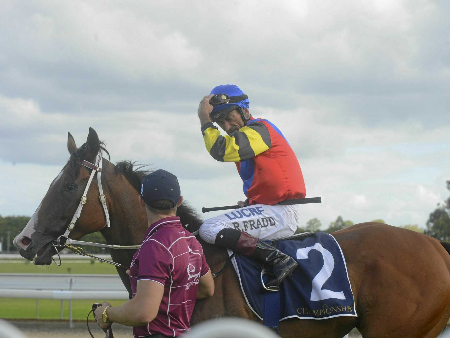 Brisbane jockey Robbie Fradd after winning the Country Championships qualifier on board Snitz during the Blues, Brews and Barbecues Yamba Cup raceday at the Clarence River Jockey Club.