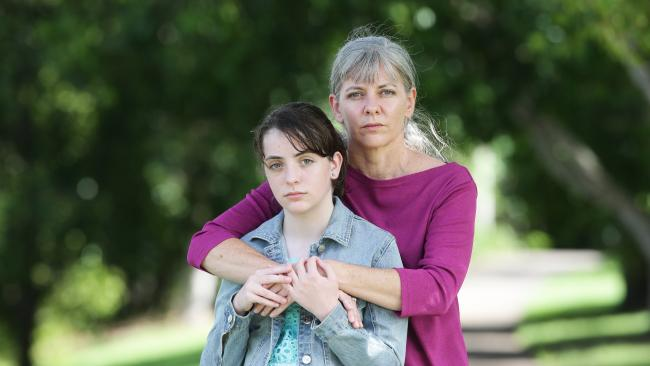 Evie Marshall 12, with her mother Sonia Marshall. Picture: AAP/ Ric Frearson
