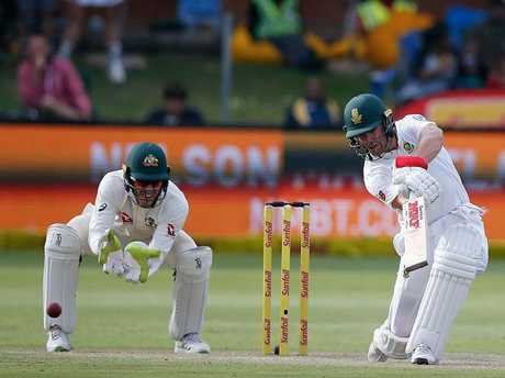 South Africa's AB de Villiers plays a shot during day two.