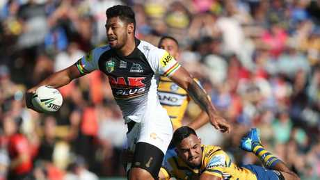 Penrith's Waqa Blake makes a break to score a try against Parramatta. Picture: Brett Costello