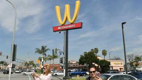 McDonald's in Lynwood reversed its iconic arches to mark International Women's Day.