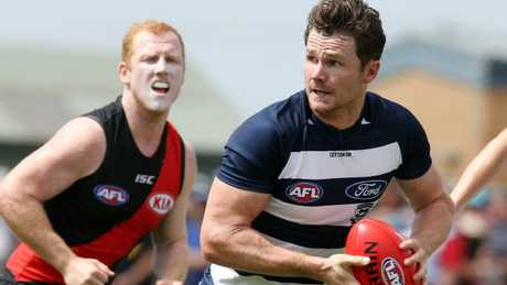 Patrick Dangerfield in action against Essendon in the JLT Series. Picture: Michael Klein