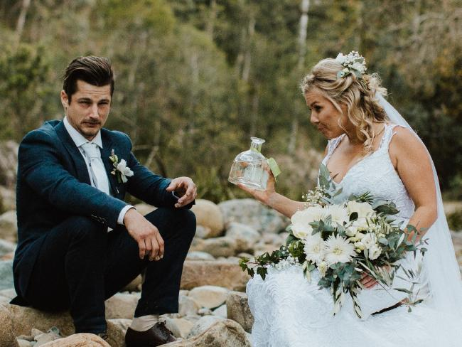 'We got a bottle of tequila and had shots while sitting on the rocks near a creek and shared a moment alone to soak in what just happened.' Picture: Bulb Creative