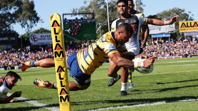 Parramatta's Josh Hoffman scores a try against Penrith at Panthers Stadium. Picture: Brett Costello