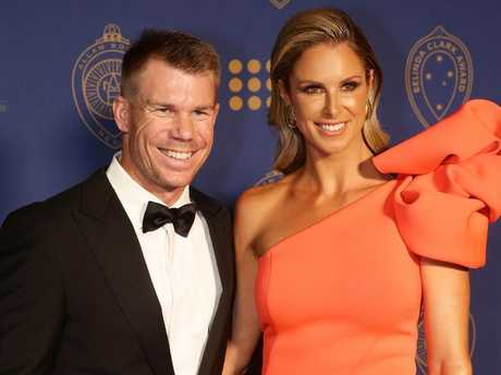 David Warner with Candice Warner at the Allan Border Medal. Picture: Andrew Tauber