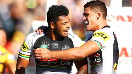 Waqa Blake celebrates a try with his Panthers teammate Nathan Cleary/