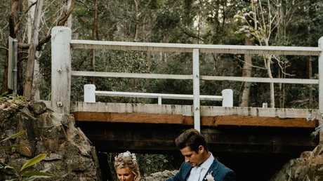 The couple had photos in the bushland surrounding the wedding venue. Picture: Bulb Creative