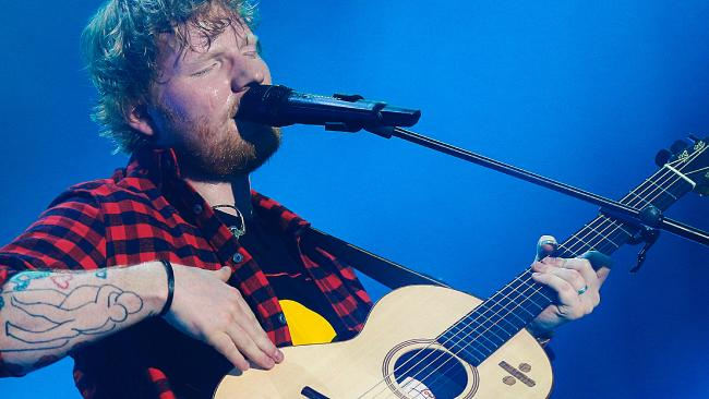 British singer Ed Sheeran performing in concert at Etihad Stadium in Melbourne, Australia. Picture: Ian Currie