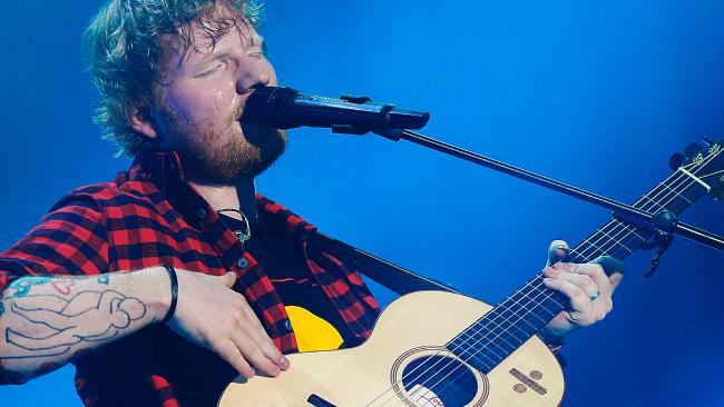 British singer Ed Sheeran performing in concert at Etihad Stadium in Melbourne, Australia. Picture: Ian Currie