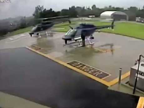The first helicopter lands and begins to veer towards the second. Picture: YouTube