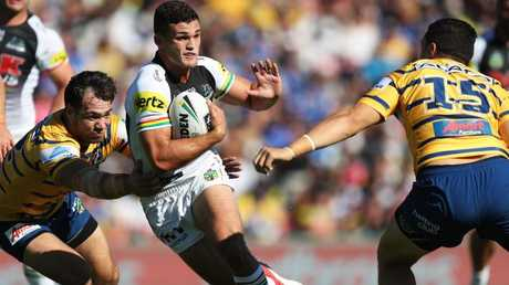 Penrith's Nathan Cleary takes on the Parramatta defence at Panthers Stadium, Penrith. Picture: Brett Costello