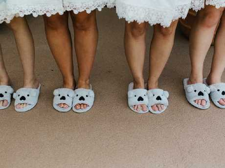 The bridal party had matching koala slippers. Picture: Bulb Creative