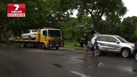A man has used his vehicle to ram other cars at New Farm Park in Brisbane. Picture: 7 News Brisbane