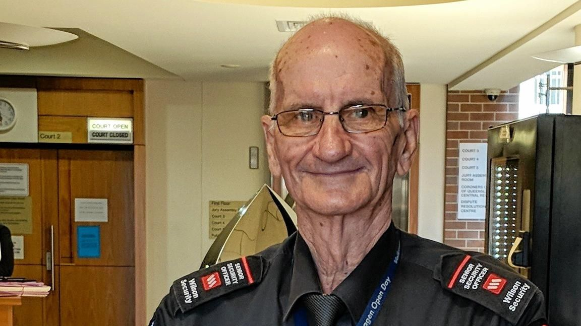 Barry Downs, 76, watched over Mackay Courthouse for 11 years, but the guard and former police officer has now retired.