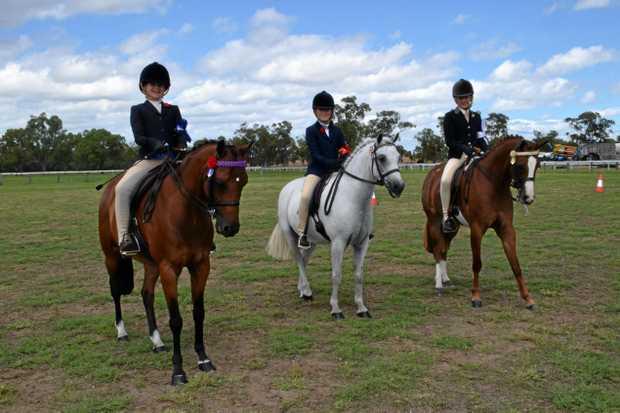 Rider Class 11-12 years, from left: 1st place Grace Hughes, 2nd place Chloe Bruggeman, 3rd place Jill Radke.