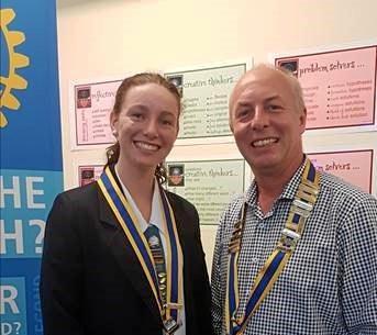 YOUNG VISIONARY: St Ursula's Interact Club president Yasmin Craggs and Yeppoon Rotary Club president Heath Henwood.