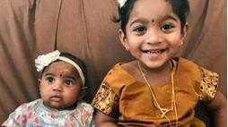 Priya and Nadesalingam's two daughters Dharuniga and Kopiga.