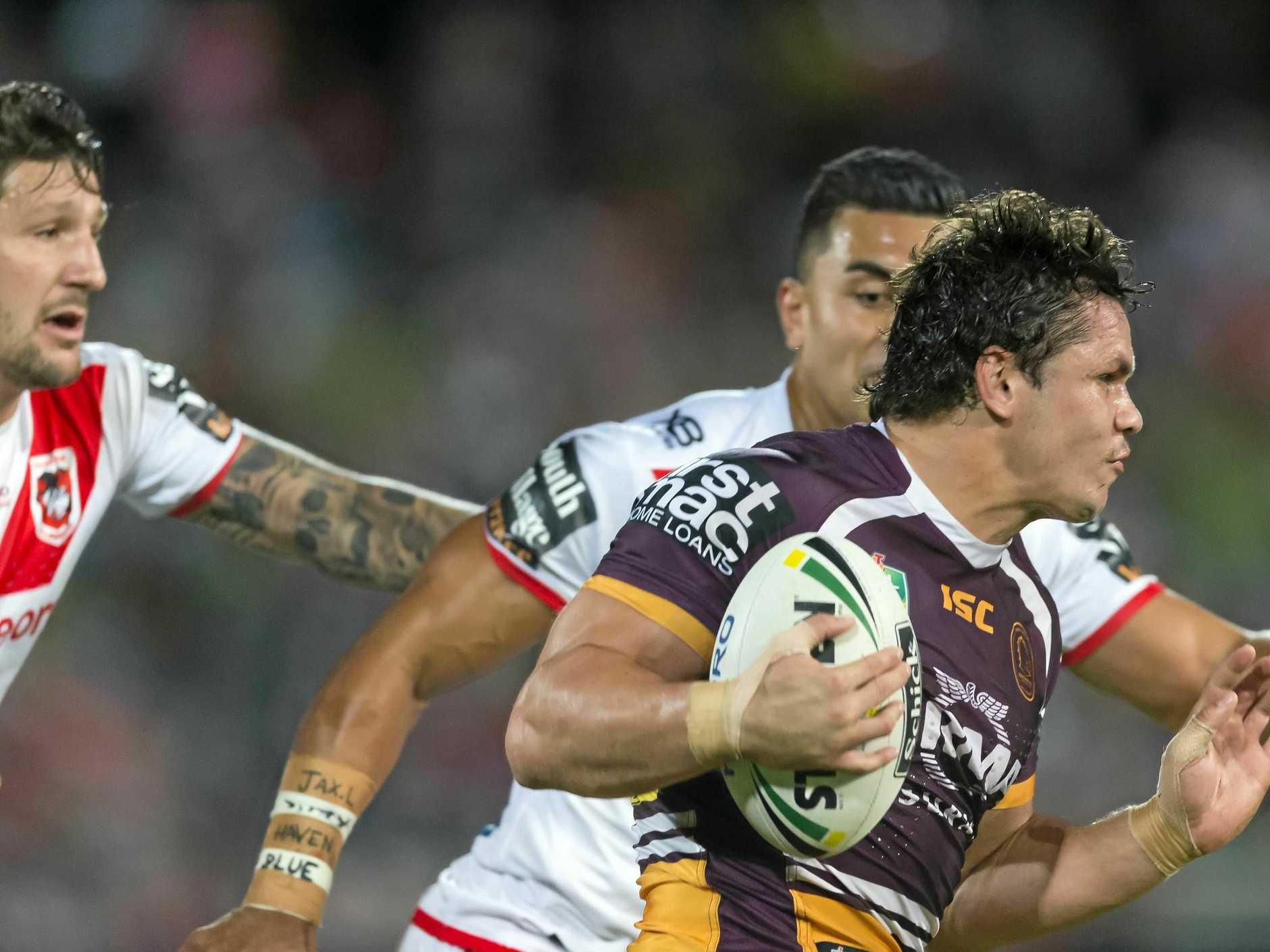 James Roberts leaves the Dragons defence behind.