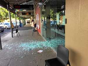 BANG: Bank door blow out sprays glass everywhere