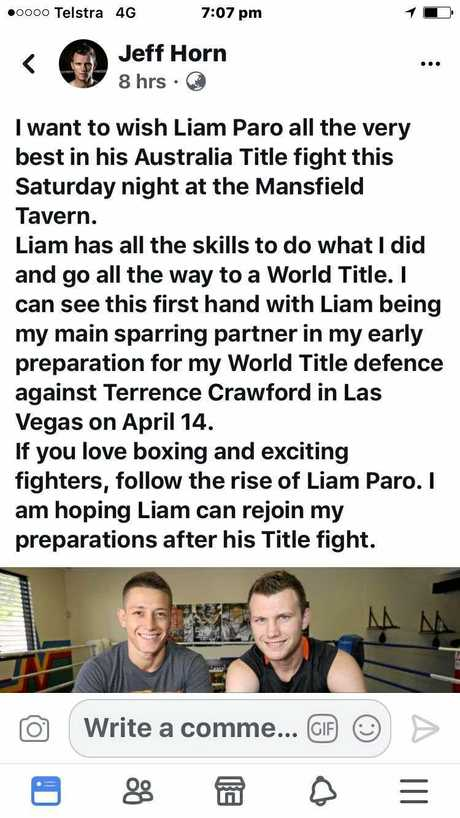 Jeff Horn wishes his sparring partner well.
