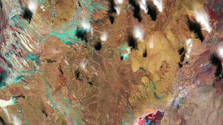 Still image from 'Open Air', showing satellite imagery of Cooper Creek, QLD.