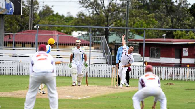 STEAMING IN: Norths bowler Boyd Williams bowls to The Waves batsman Sean Stuchbery during their match at Salter Oval on Sunday.