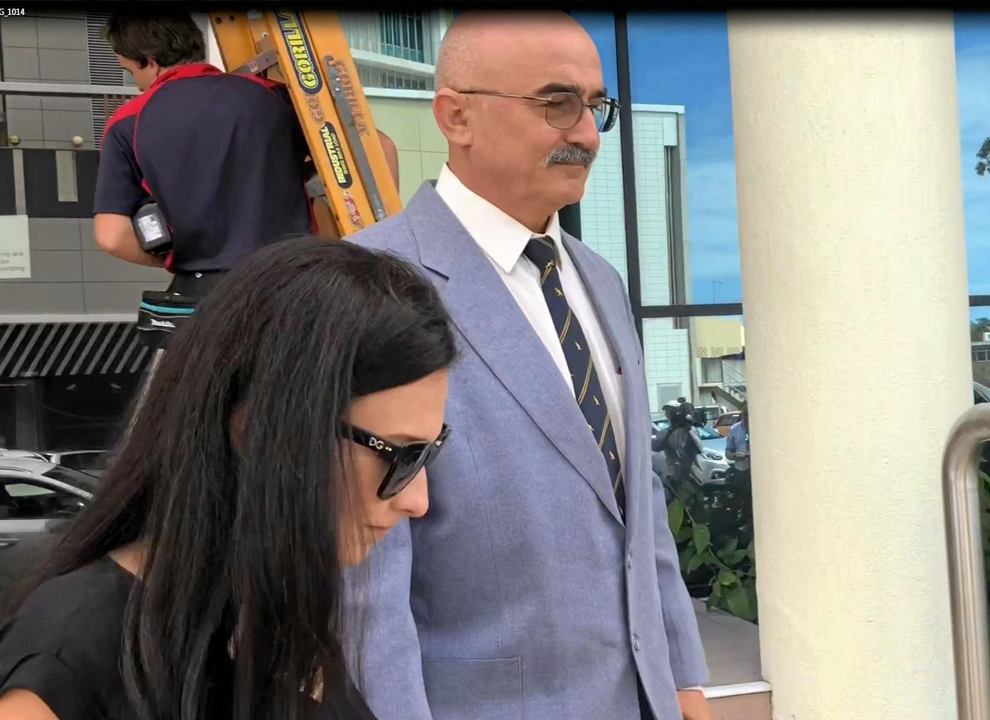 Zdravko Michael Pavlic-Sahin walked from the Maroochydore District Court today as his wife Fay Frances was jailed. He too was later sent to prison. He is supported by a woman believed to be his daughter.