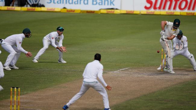 Australia's batsman Shaun Marsh plays a shot during day three of the second Test.