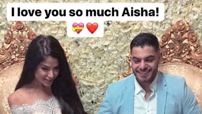Snapchat image of Aisha Mehajer and Sam Sayour at their wedding last November in Sydney.